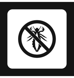 Prohibition sign insects icon simple style vector