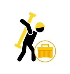 Portable tool box silhouette man vector