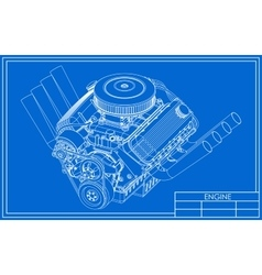 Hot rod v8 engine drawing vector
