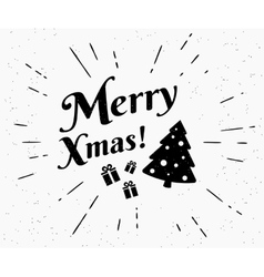 Merry xmas vintage black and white vector