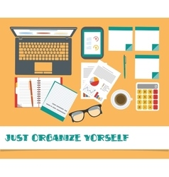 Top view on classic office workplace desk stuff vector