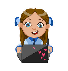 girl chatting on her lap top part of kids and vector image