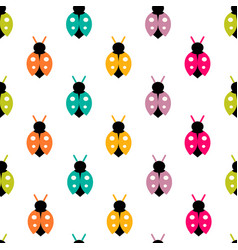 seamless pattern with color ladybug vector image