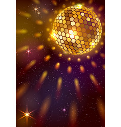 Golden disco ball background vector