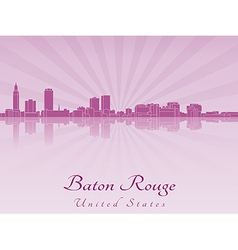 Baton rouge skyline in purple radiant orchid vector