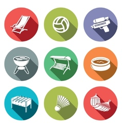 Recreation flat icon set vector