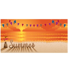Summer text made from sand on the beach at sunset vector