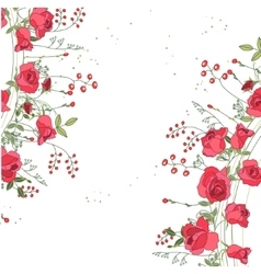 Backdrop with roses and herbs white and pink vector