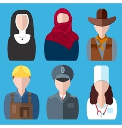 Icons people nurse nun police cowboy builder vector