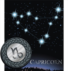 Capricorn zodiac sign goat poster vector