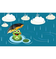 Frog in the rain with umbrella vector image