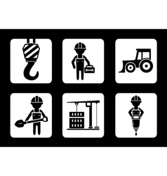 Set of builder and construction equipment icons vector