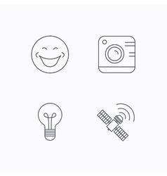 Smiling face photo camera and lightbulb icons vector image