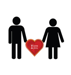 Couple with heart red color icon vector