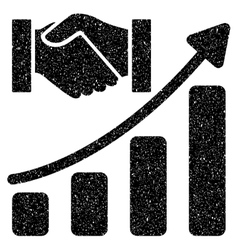 Acquisition hands growth chart grainy texture icon vector