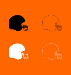 American football helmet black and white set icon vector