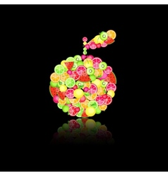 apple silhouette composed of fruits vector image