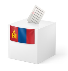 Ballot box with voting paper mongolia vector