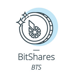 bitshares cryptocurrency coin line icon of vector image