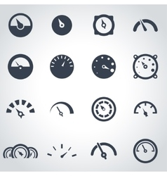 Black meter icon set vector