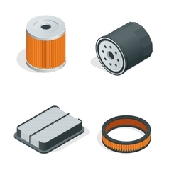 Car filters isometric set Car parts flat 3d vector image vector image
