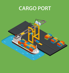 Cargo port isometric vector