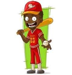 Cartoon smiling baseball player with bat vector image vector image