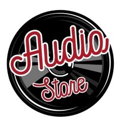 Color vintage audio store emblem vector image vector image