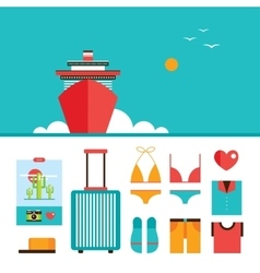 Cruise liner boat background and summer vacation vector