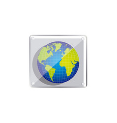 Earth planet emblem icon vector