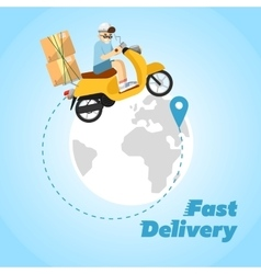 Fast delivery banner boy riding yellow bike vector