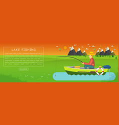 Fisherman sitting in the boat and fishing vector