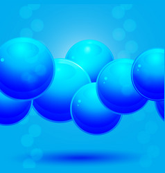 Glass blue spheres over blue background vector