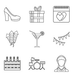 guzzle icons set outline style vector image