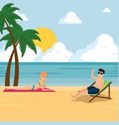 happy couple of lovers sunbathe on the beach vector image