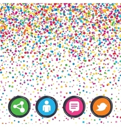 Human person and share icons Speech bubble vector image
