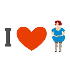 I love women heart and fat lady logo for ladies vector