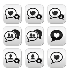 Love speech bubbles couples buttons set vector image vector image