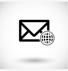 mail with globe flat icon vector image vector image