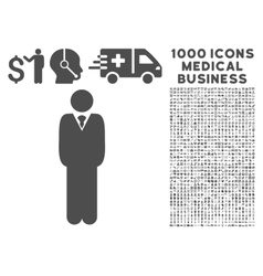 Manager Icon with 1000 Medical Business Pictograms vector image vector image