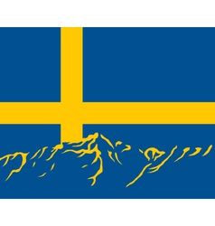 mountains with flag of sweden vector image