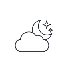 Night weather cloud and moon thin line icon vector