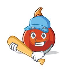 Playing baseball red kuri squash character cartoon vector