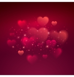 Shiny hearts bokeh Valentine day background vector image