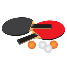 table tennis equipment black red white and orange vector image