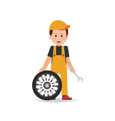 Tire service man worker changing tire vector