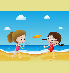 Two kids flying frisbee on the beach vector