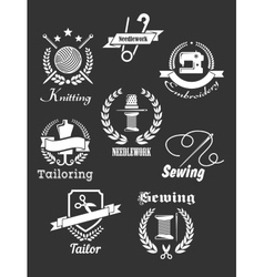 White handicraft icons on black vector image vector image