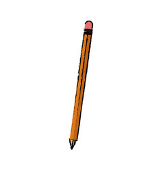 wooden pencil write utensil supply office vector image