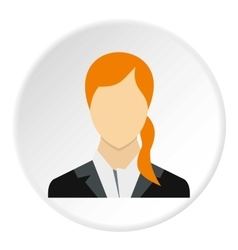 Woman with ponytail avatar icon flat style vector